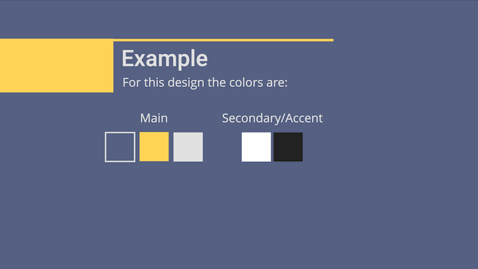 A slide showing three main colors and two accent colors.